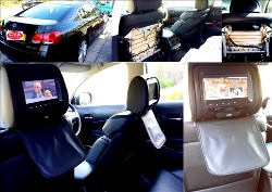 Headrest screens installed for a Lexus 450h